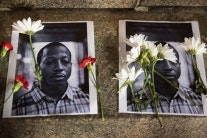 flowers on portraits of Kalief Browder
