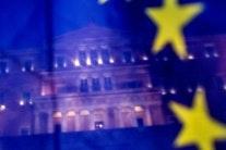 Greek Parliament seen behind an EU flag