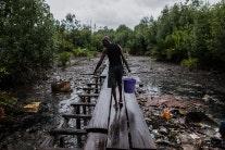 A man walks on a wood plank walkway