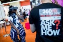 A woman wearing a virtual reality headset