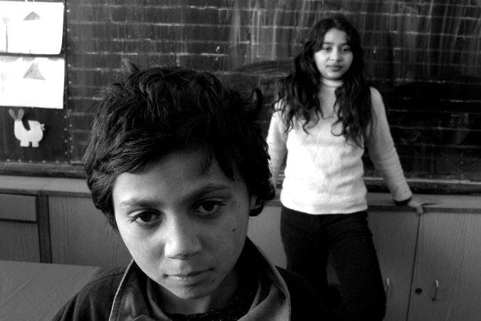 Two school children