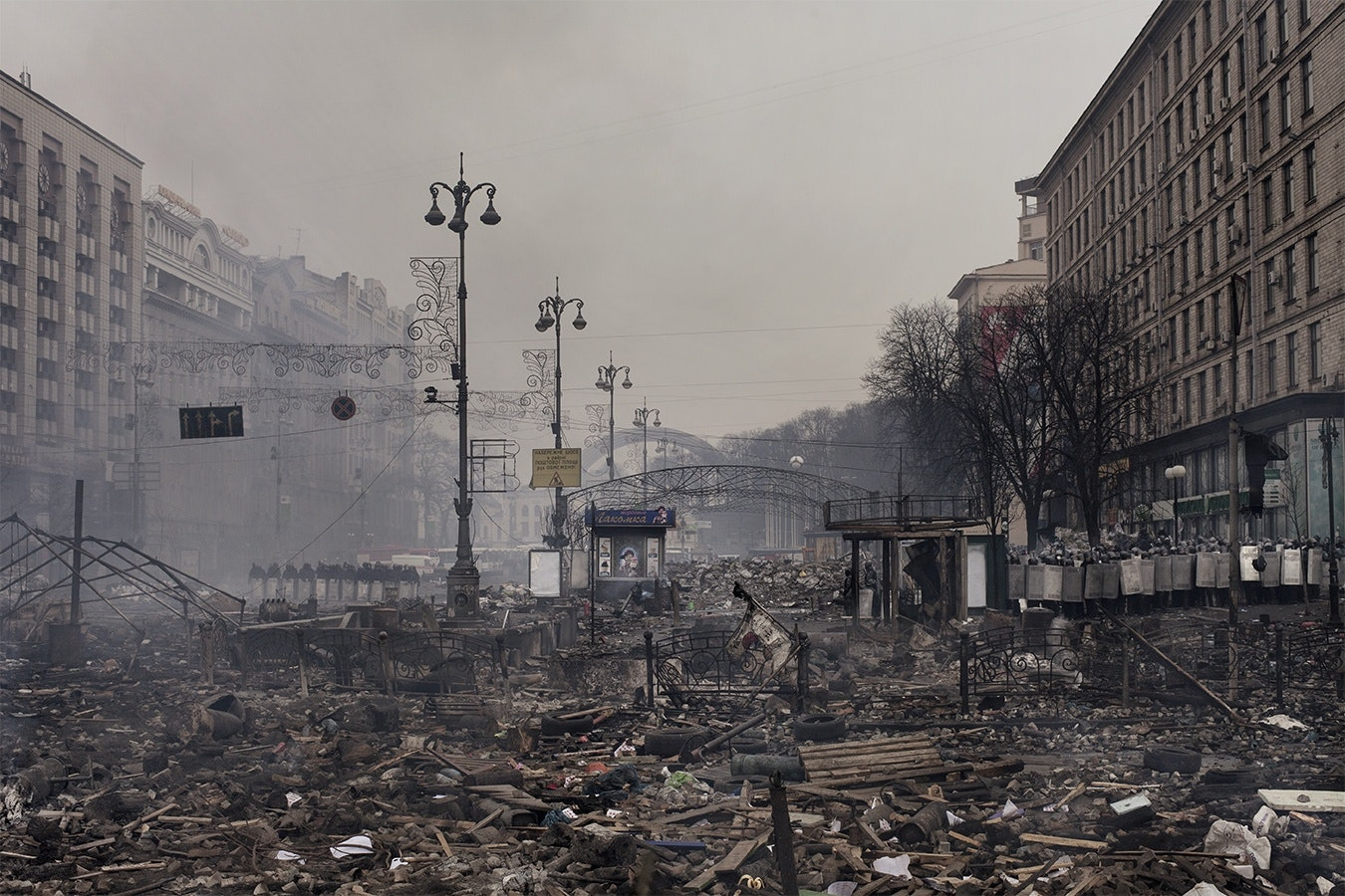 Debris in a city