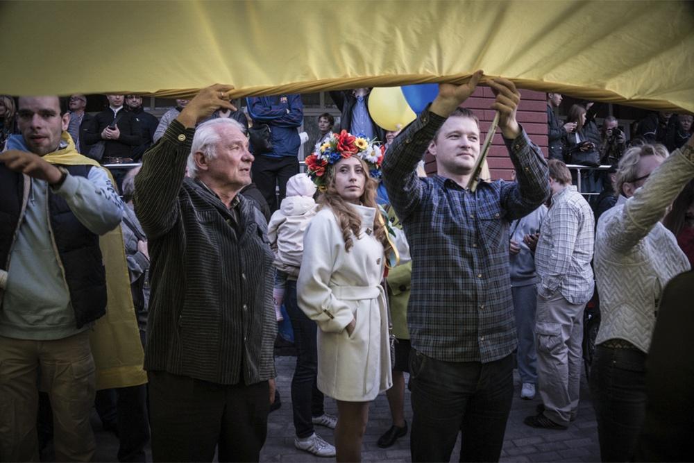 A crowd in Ukraine