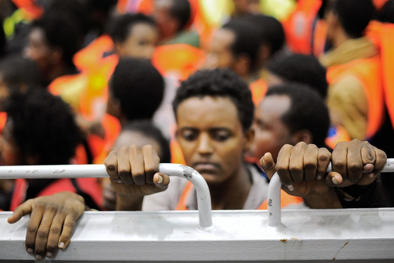 Migrants from Africa on a boat in Italy