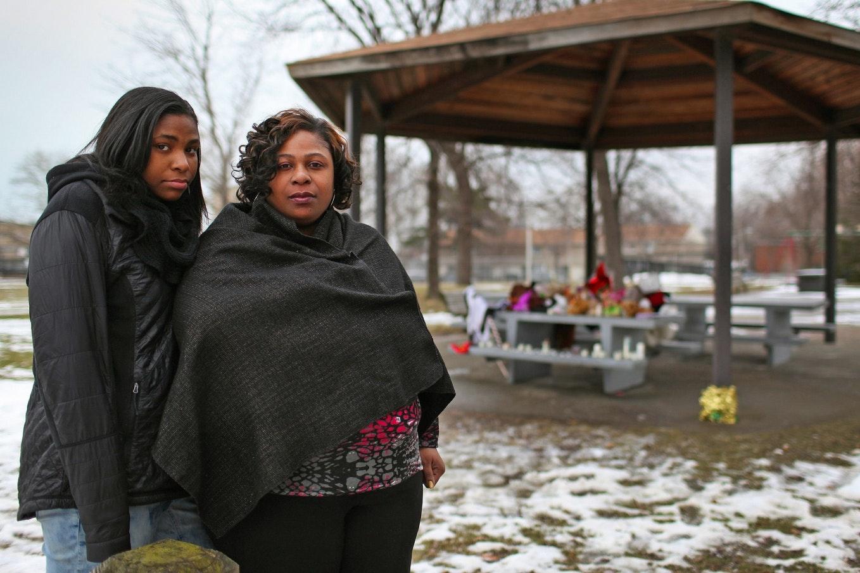 Mother and daughter at memorial