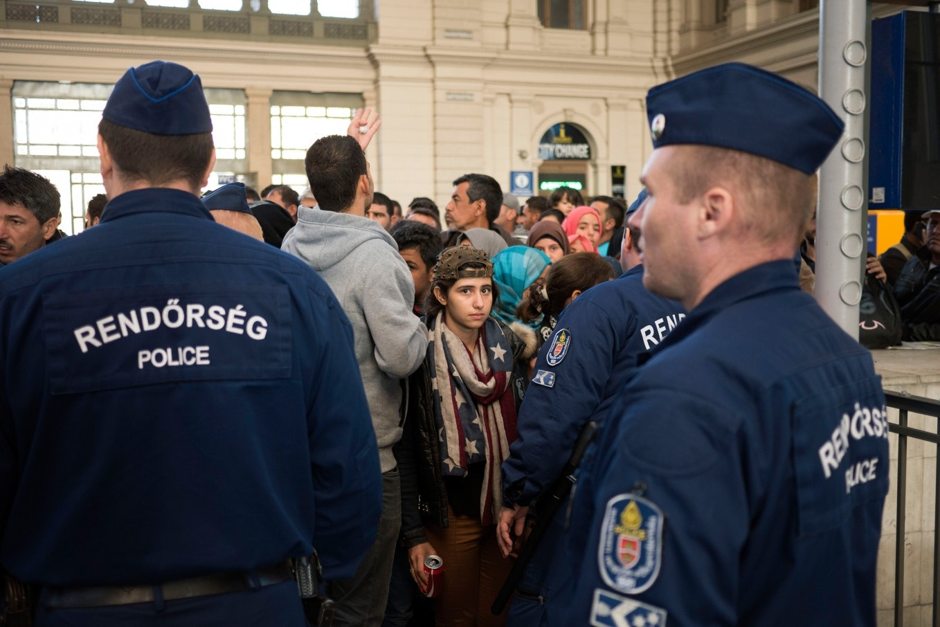 Refugees in a train station
