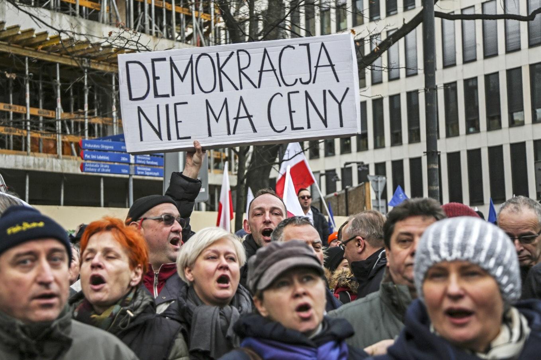 Demonstrators in Warsaw