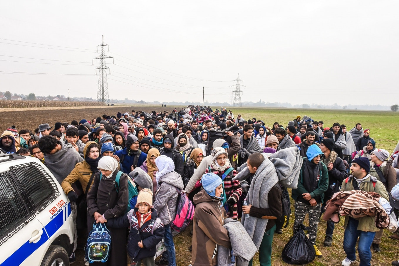 A large group of refugees