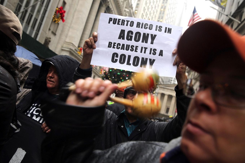 Demonstrators marching on Broad Street.