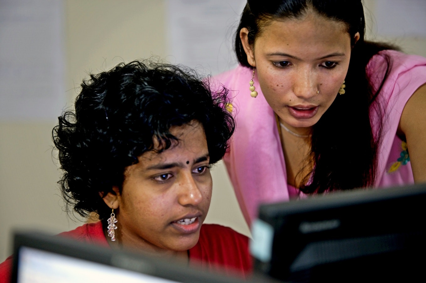 Two women at a computer