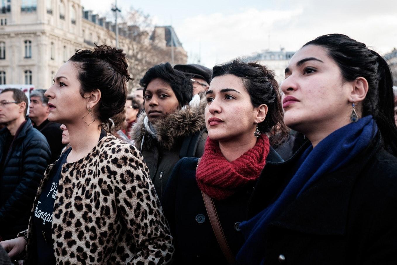 Demonstrators in a crowd