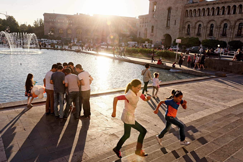 People near a fountain