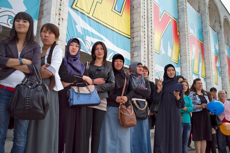 Women standing in a line