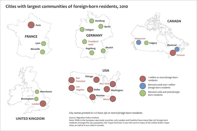 Infographic on communities foreign-born residents in various cities