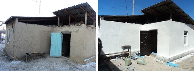 A before-and-after comparison of a renovated house