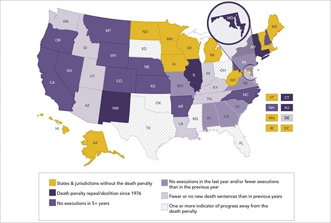 An infographic on Maryland as a bellwether for the death penalty.