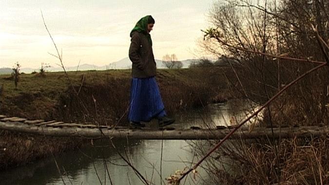 Girl crosses makeshift bridge over river