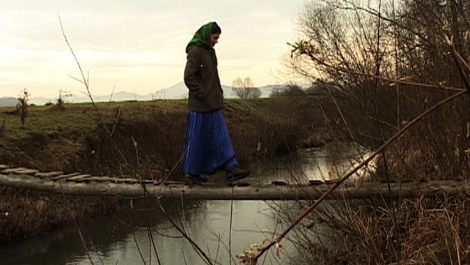 Girl crosses makeshift bridge over river