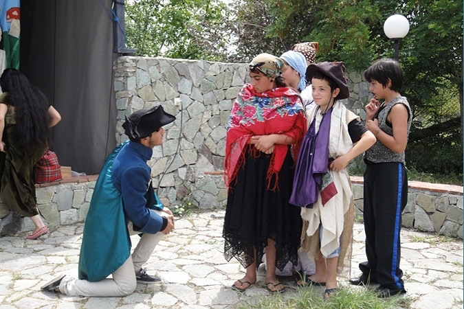 Children performing a play.