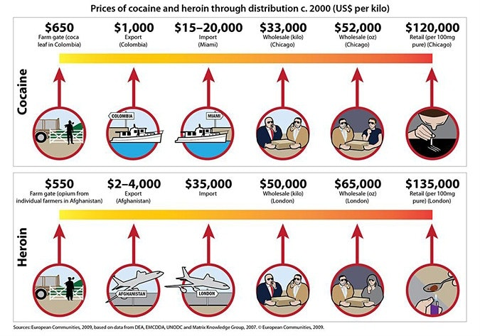 Pictorial graphic displaying prices of drugs from farm gate to retail
