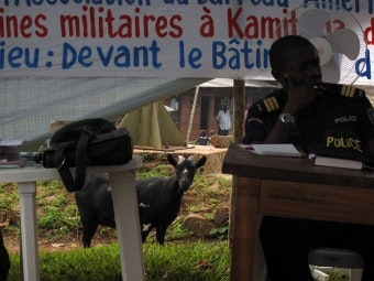 Policeman at desk under tent; goat looking on in background