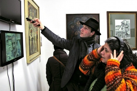 Visitors at an art gallery
