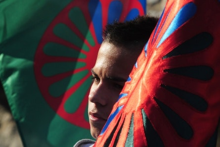 A boy between two flags