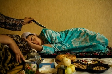 A woman lying down.