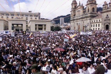 Crowd in plaza