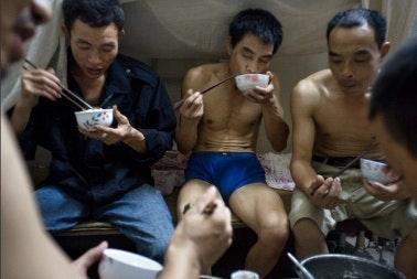 Men eating