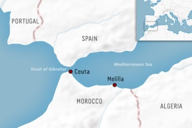 Map of Ceuta and Melilla