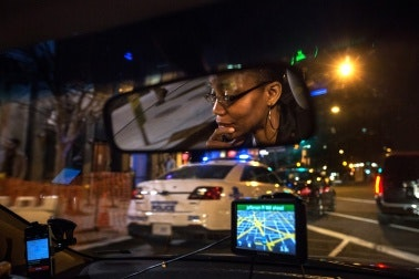 driver at night in Washington DC