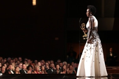 Viola Davis on stage at the Emmy Awards