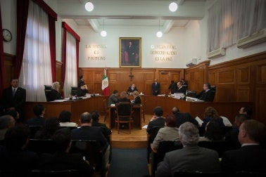 Judges in a courtroom.
