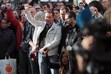 A crowd of demonstrators in Paris