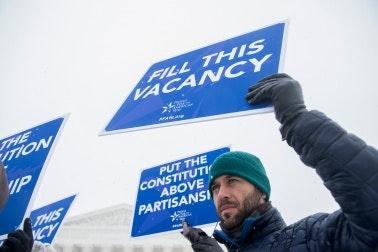 Demonstrators outside the U.S. Supreme Court