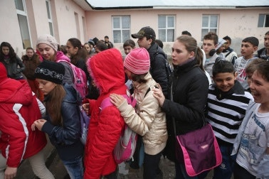 Children lined up to enter school