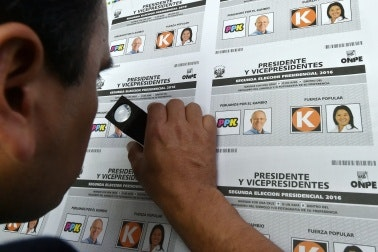 Technician inspects electoral ballots