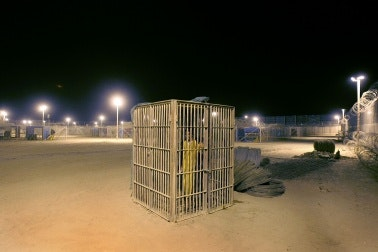 A prison yard at night