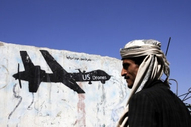 An aerial unmanned drone painted on a wall