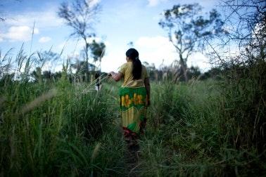 A woman walking in tall grass