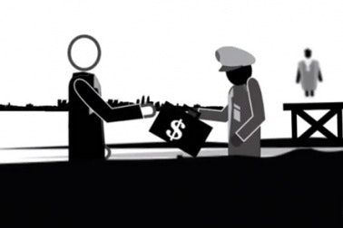 Animated still of two figures exchanging money