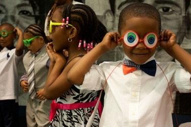 Children wearing sunglasses.