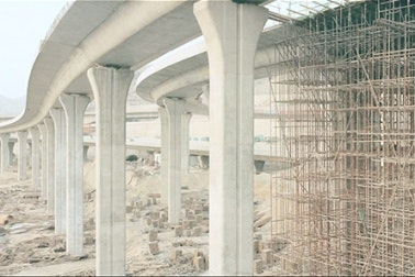 Highway overpass under construction