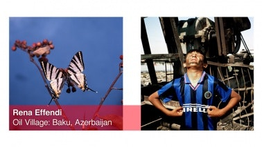Side-by-side images of a butterfly and a boy in front of an oil well