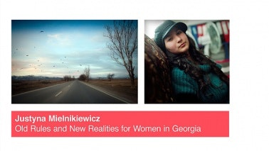 Side-by-side images of a girl leaning against a tree and a flock of birds flying above an empty road