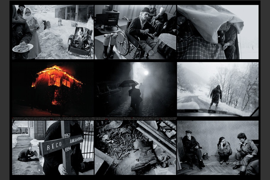Collage of nine images with man holding umbrella at center.