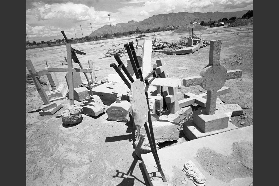 A collection of grave markers.