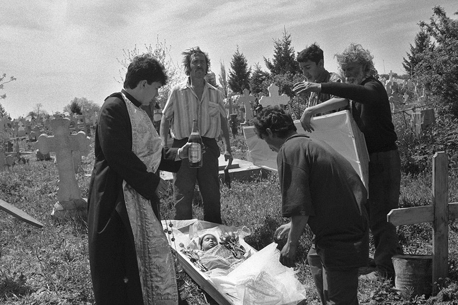 A family at a funeral.