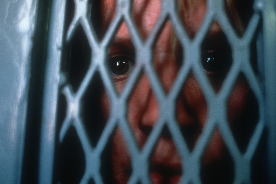 A face viewed through a grate.